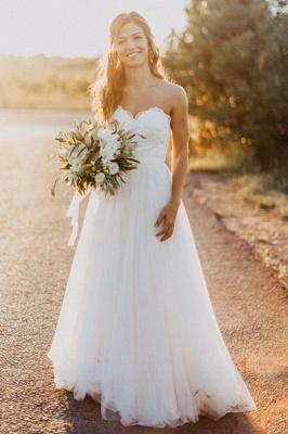 Glamorous Floor-Length Tulle Ruched Sweetheart Sleeveless Wedding Dresses_2