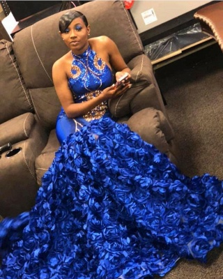 2019 Royal Blue Halter Mermaid Prom Dresses | Gorgeous Sleeveless Flowers Long Evening Gowns_2