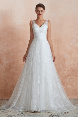 Floor Length Straps V-neck Sexy A-line Lace Tulle Wedding Dresses_5