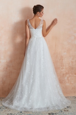 Floor Length Straps V-neck Sexy A-line Lace Tulle Wedding Dresses_11