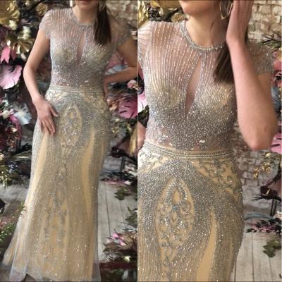 Luxury Cap Sleeves Keyhole Rhinestones Mermaid Prom Dresses | Gorgeous Beaded Evening Dress_16