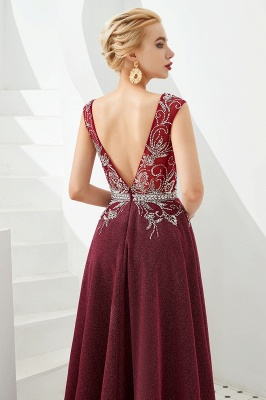 Straps Deep V-neck Beaded Sexy Long Prom Dresses | Elegant Floor Length Evening Dresses_6