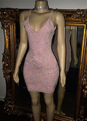 Short Sequins Pretty Spaghetti-Straps Homecoming Dress_2
