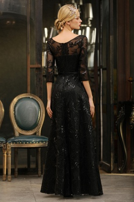 A-line Round Neckline Sexy Lace Prom Dresses | Black Evening Dresses_12