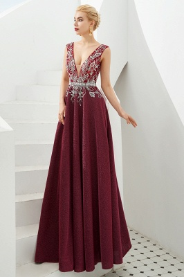 Straps Deep V-neck Beaded Sexy Long Prom Dresses | Elegant Floor Length Evening Dresses_9