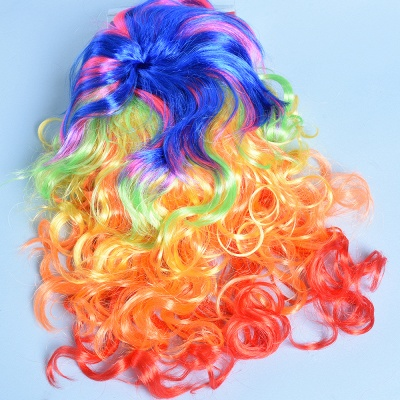 Rainbow Long Wavy Curly Wig for Women_4
