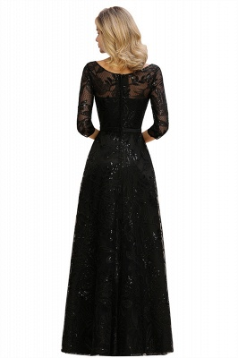 A-line Round Neckline Sexy Lace Prom Dresses | Black Evening Dresses_15