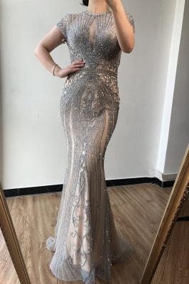 Luxury Cap Sleeves Keyhole Rhinestones Mermaid Prom Dresses | Gorgeous Beaded Evening Dress_12