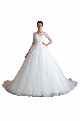 Floor Length Crew A-line Lace Tulle Wedding Dresses with Long Sleeves_1