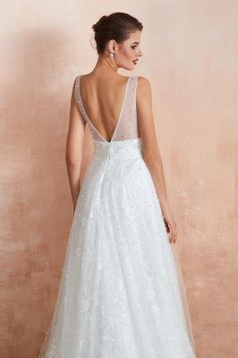 Floor Length Straps V-neck Backless A-line Wedding Dresses   Cheap Tulle Bridal Gowns_8
