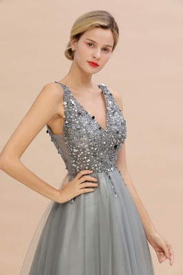 Sleeveless A-line Sequin Tulle Prom Dresses | Cheap Evening Dress_17