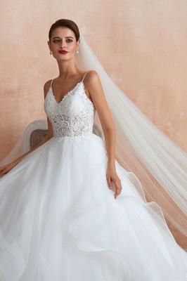 Spaghetti Straps V-neck Lace Organza Tiered A-line Sexy Wedding Dresses_9
