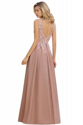Elegant Sleeveless V-neck Floor Length Appliques Prom Dresses | Cheap Backless Evening Dresses_14
