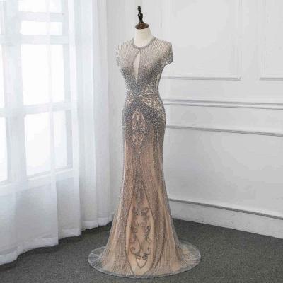 Luxury Cap Sleeves Keyhole Rhinestones Mermaid Prom Dresses | Gorgeous Beaded Evening Dress_40