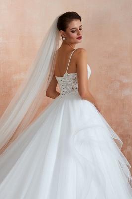 Spaghetti Straps V-neck Lace Organza Tiered A-line Sexy Wedding Dresses_8