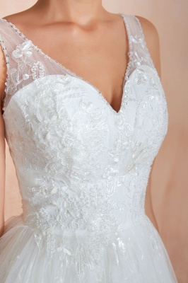 Floor Length Straps V-neck Sexy A-line Lace Tulle Wedding Dresses_9