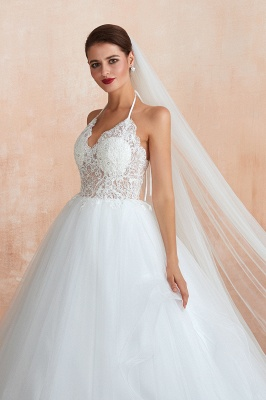 Halter Backless Sexy Cheap Ball Gown Wedding Dresses | Affordable Tulle Bridal Gowns_8