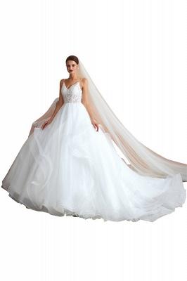 Spaghetti Straps V-neck Lace Organza Tiered A-line Sexy Wedding Dresses_1