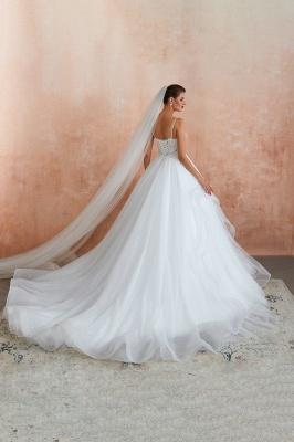 Spaghetti Straps V-neck Lace Organza Tiered A-line Sexy Wedding Dresses_12