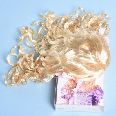Gold Long Wavy Curly Cosplay Wigs with Bowknot for Girl_4