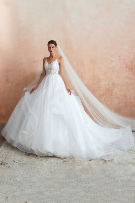 Spaghetti Straps V-neck Lace Organza Tiered A-line Sexy Wedding Dresses_2
