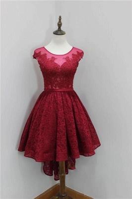 Short Beadings Appliques Lace Hi-Lo Elegant Sleeveless Homecoming Dress_2