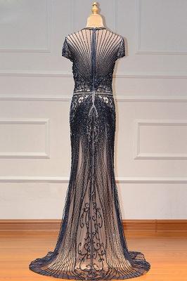 Luxury Cap Sleeves Keyhole Rhinestones Mermaid Prom Dresses | Gorgeous Beaded Evening Dress_24