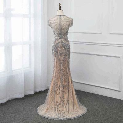 Luxury Cap Sleeves Keyhole Rhinestones Mermaid Prom Dresses | Gorgeous Beaded Evening Dress_39