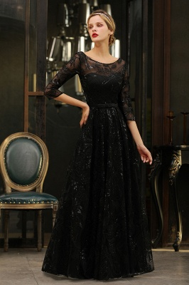 A-line Round Neckline Sexy Lace Prom Dresses | Black Evening Dresses_16