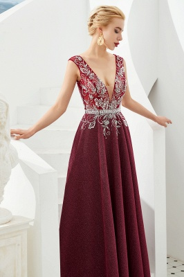 Straps Deep V-neck Beaded Sexy Long Prom Dresses | Elegant Floor Length Evening Dresses_8