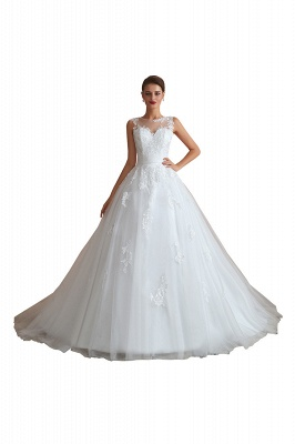Floor Length Bateau Sleeveless Buttons Lace Tulle Puffy Wedding Dresses_1