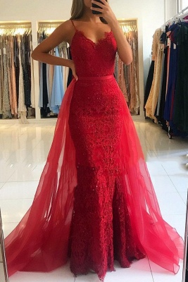Red Sheath Spaghetti Straps Prom Dresses 2019   Sexy Lace OverSkirt Evening Dress_2