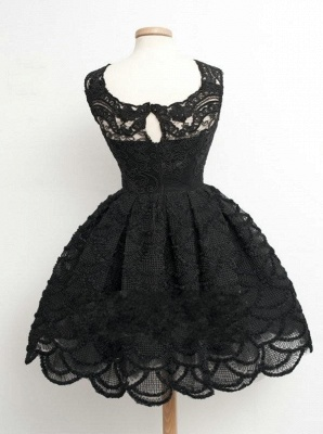 Lace Black Knee-Length Short Homecoming Dress | Stunning Short Prom Dresses_4