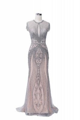 Luxury Cap Sleeves Keyhole Rhinestones Mermaid Prom Dresses | Gorgeous Beaded Evening Dress_29