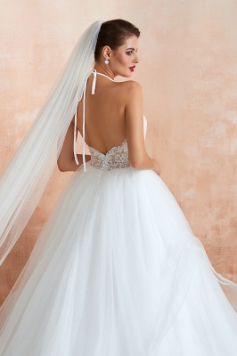 Halter Backless Sexy Cheap Ball Gown Wedding Dresses | Affordable Tulle Bridal Gowns_11