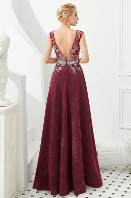 Straps Deep V-neck Beaded Sexy Long Prom Dresses | Elegant Floor Length Evening Dresses_5