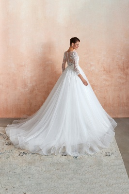 Floor Length Crew A-line Lace Tulle Wedding Dresses with Long Sleeves_4