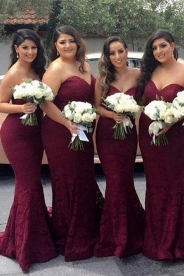 Burgundy Long Sweetheart-Neck Lace Mermaid Bridesmaid Dress_2