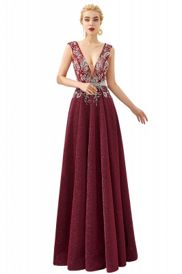 Straps Deep V-neck Beaded Sexy Long Prom Dresses | Elegant Floor Length Evening Dresses_1