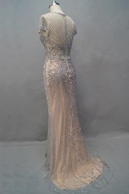 Luxury Cap Sleeves Keyhole Rhinestones Mermaid Prom Dresses | Gorgeous Beaded Evening Dress_7