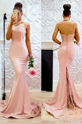 Sweep-Train Applique Halter Mermaid Lace Elegant Prom Dresses_3