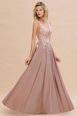 Elegant Sleeveless V-neck Floor Length Appliques Prom Dresses | Cheap Backless Evening Dresses_7
