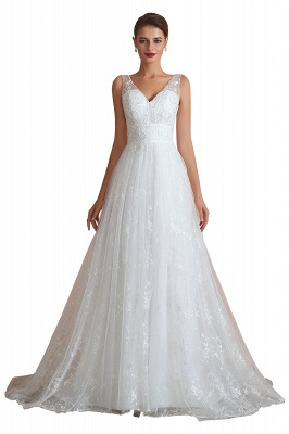 Floor Length Straps V-neck Sexy A-line Lace Tulle Wedding Dresses_1