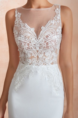 Sweep Train Crew Form-fitting Lace Wedding Dresses |Sleeveless Sheath Bridal Gown_12