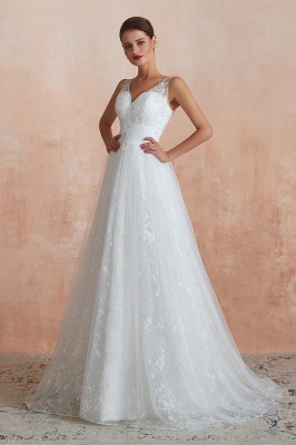 Floor Length Straps V-neck Sexy A-line Lace Tulle Wedding Dresses_10