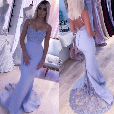 Spaghetti Straps Appliques Long Sexy Prom Dresses | Elegant Sweep Train Evening Dresses_3