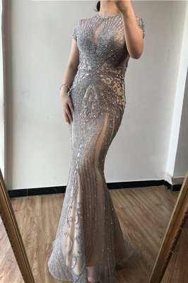 Luxury Cap Sleeves Keyhole Rhinestones Mermaid Prom Dresses | Gorgeous Beaded Evening Dress_14