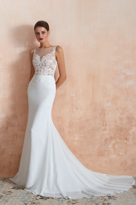Sweep Train Crew Form-fitting Lace Wedding Dresses |Sleeveless Sheath Bridal Gown
