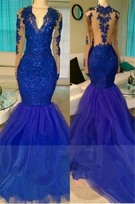 2019 Royal Blue Prom Dresses Long Sleeves Lace Appliques Mermaid Evening Gowns_1
