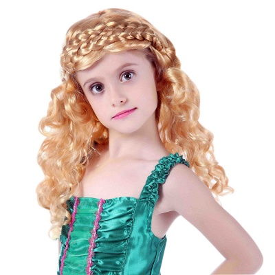 Gold Long Wavy Curly Cosplay Wigs for Girl_1